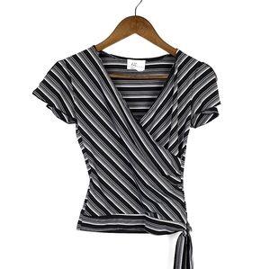 IZ Byer Black White Striped V-Neck Crop Top Small